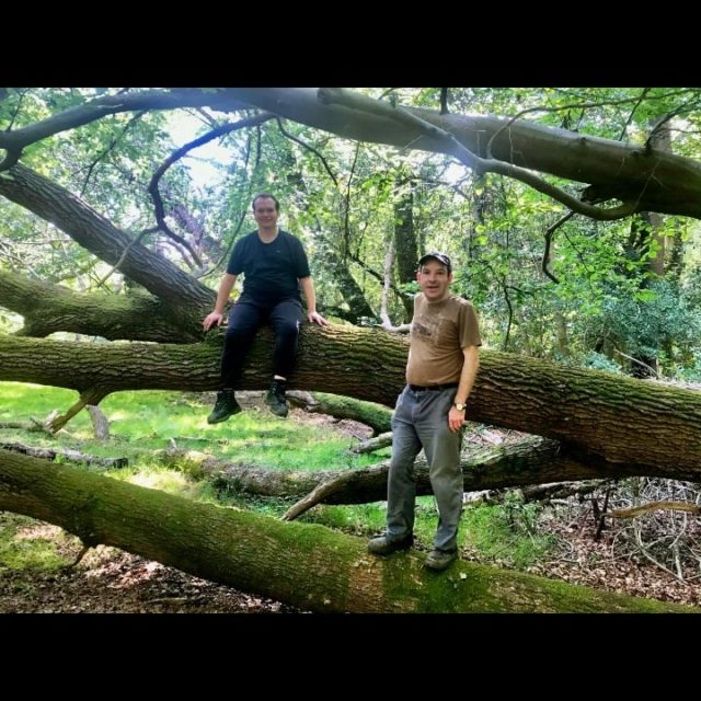 """This posts caption is a """"mindful wander"""". Josh and David went for a walk in the #newforest yesterday as part of healthy hobbies. Josh took today off for some """"me time"""" because it's his birthday. Josh often reminds us of the power of nature and channeling our spirit animals. Happy birthday Josh! Can you guess what animal he is channeling? 🐺"""