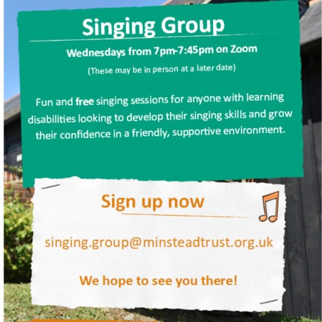 Would you like to join our singing group? 🎼  These fun and free singing sessions are for anyone with learning disabilities looking to develop their singing skills and grow their confidence in a friendly and supportive environment.  For more information or to sign up please email: singing.group@minsteadtrust.org.uk  #FreeSingingGroup #SingingGroup #DevelopSkills