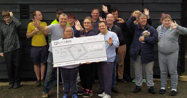It was a pleasure to receive a visit from our friends at Black Box theatre company recently. It was even better that they brought a cheque!   Black Box kindly raised money for us through programme sales on their last tour and made an incredible £1,374.  Here they are presenting the cheque to some of the people we support at Hanger Farm Community Theatre.   Thanks guys!
