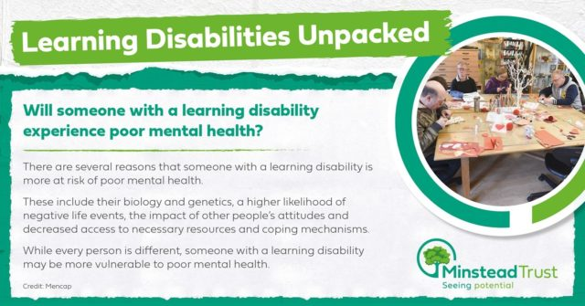 Mental health has been something we have focussed on more than ever during the Covid-19 pandemic, supporting people to find ways to look after their mental as well as physical wellbeing.  But as this unpacking shows, people with learning disabilities are more susceptible to poor mental health even in normal times. Something for us all to be aware of and seek to support.