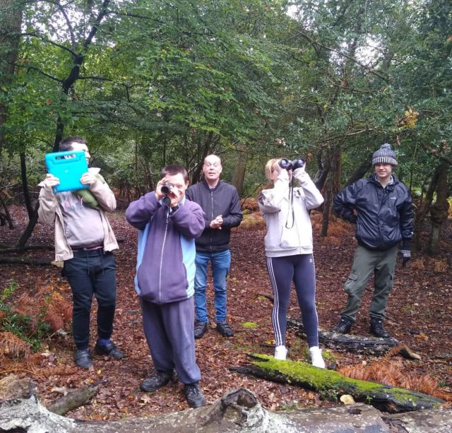 Here's a post from the new forest ecology group. Today we're learning how to use binoculars and monoculars on our forest walk 🌳🦉🍄